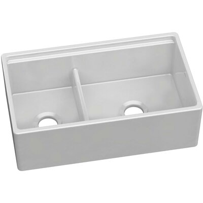 Fireclay Double Bowl 33 x 20 Double Basin Farmhouse Kitchen Sink with Divide Finish: Biscuit