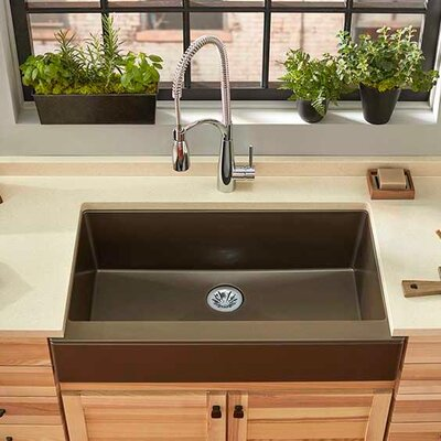 Quartz Luxe 36 x 21 Farmhouse Kitchen Sink with Perfect Drain Finish: Chestnut