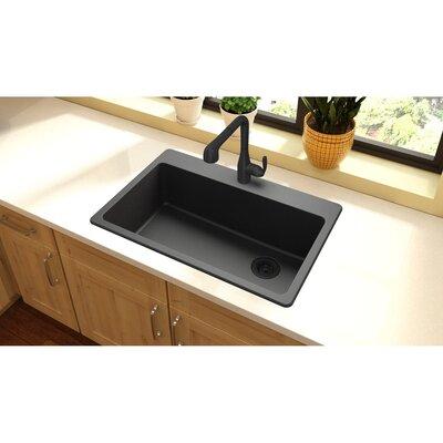 Quartz Classic 33 x 22 Top Mount Kitchen Sink Finish: Black