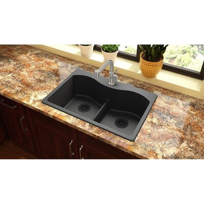 Quartz Classic 33 x 22 Double Basin Drop-In Kitchen Sink Finish: Black, Faucet Drillings: 5 Pre Scored