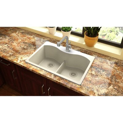 Quartz Classic 33 x 22 Double Basin Drop-In Kitchen Sink Finish: Bisque, Faucet Drillings: 5 Pre Scored