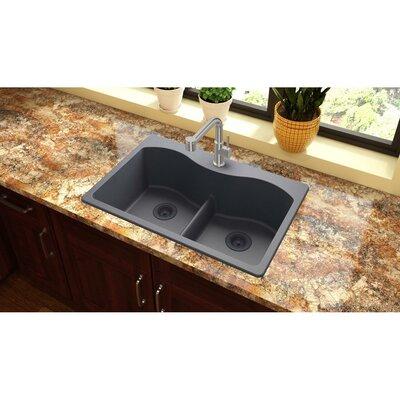 Quartz Classic 33 x 22 Double Basin Drop-In Kitchen Sink Finish: Dusk Gray, Faucet Drillings: 5 Pre Scored