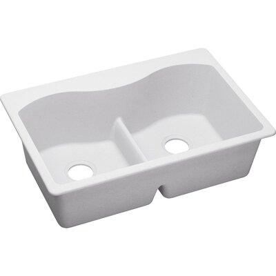 Quartz Classic 33 x 22 Double Basin Drop-In Kitchen Sink Finish: White, Faucet Drillings: 5 Pre Scored