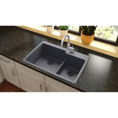 Quartz Classic 33 x 22 Double Basin Drop-In Kitchen Sink Finish: Dusk Gray, Faucet Drillings: 3 Pre Scored