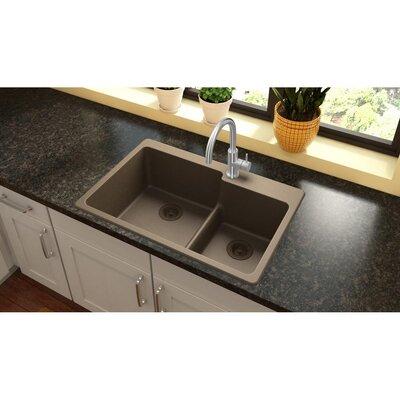 Quartz Classic 33 x 22 Double Basin Drop-In Kitchen Sink Finish: Mocha, Faucet Drillings: 3 Pre Scored