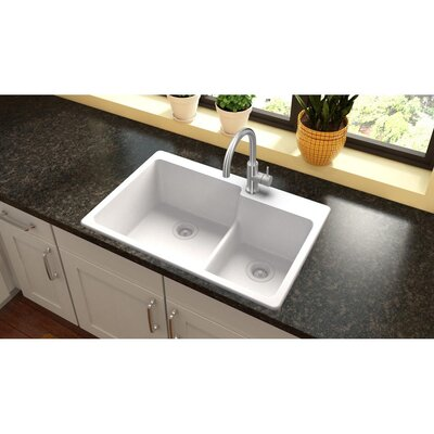 Quartz Classic 33 x 22 Double Basin Drop-In Kitchen Sink Finish: White, Faucet Drillings: 3 Pre Scored
