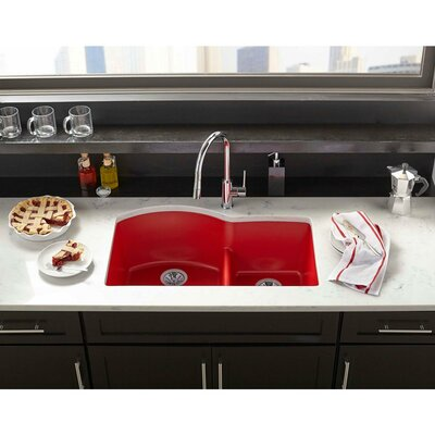 Quartz Luxe 33 x 22 Double Basin Undermount Kitchen Sink Finish: Chestnut