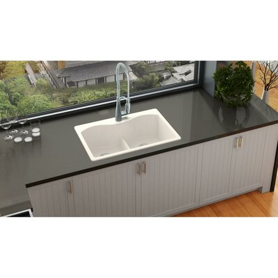Quartz Luxe 33 x 22 Double Basin Drop-In Kitchen Sink Finish: Ricotta