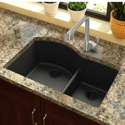 Quartz Classic 33 x 22 Double Basin Undermount Kitchen Sink with Aqua Divide Finish: Black
