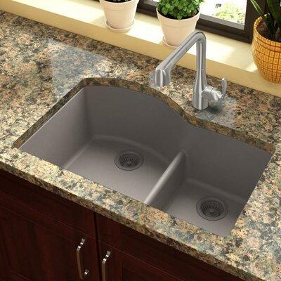 Quartz Classic 33 x 22 Double Basin Undermount Kitchen Sink with Aqua Divide Finish: Greige
