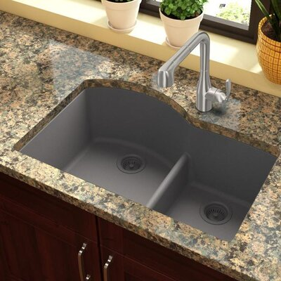 Quartz Classic 33 x 22 Double Basin Undermount Kitchen Sink with Aqua Divide Finish: Greystone