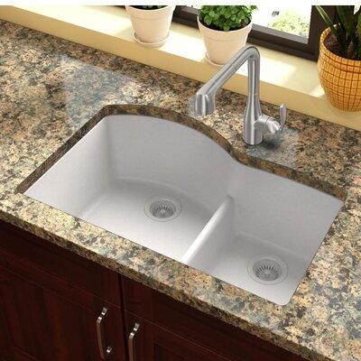 Quartz Classic 33 x 22 Double Basin Undermount Kitchen Sink with Aqua Divide Finish: White