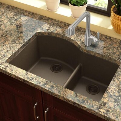 Quartz Classic 33 x 22 Double Basin Undermount Kitchen Sink with Aqua Divide Finish: Mocha