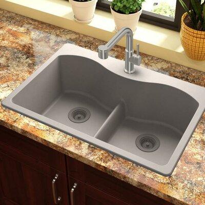 Quartz Classic 33 x 22 Double Basin Drop-In Kitchen Sink with Aqua Divide Finish: Greige