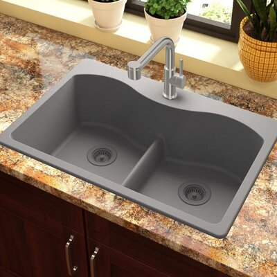 Quartz Classic 33 x 22 Double Basin Drop-In Kitchen Sink with Aqua Divide Finish: Greystone