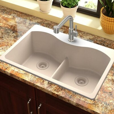 Quartz Classic 33 x 22 Double Basin Drop-In Kitchen Sink with Aqua Divide Finish: Putty
