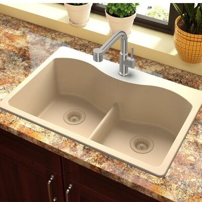 Quartz Classic 33 x 22 Double Basin Drop-In Kitchen Sink with Aqua Divide Finish: Sand