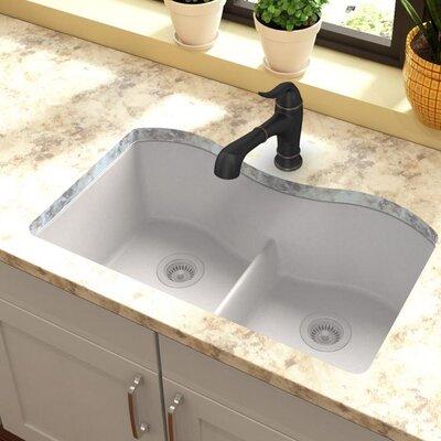 Quartz Classic 33 x 20 Double Basin Undermount Kitchen Sink with Aqua Divide Finish: White
