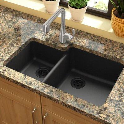 Quartz Classic 33 x 20.7 Double Basin Undermount Kitchen Sink Finish: Black
