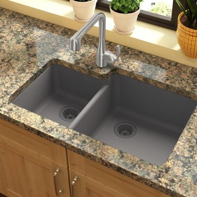 Quartz Classic 33 x 20.7 Double Basin Undermount Kitchen Sink Finish: Greystone