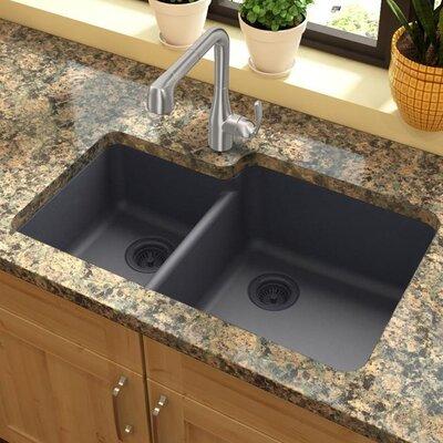 Quartz Classic 33 x 20.7 Double Basin Undermount Kitchen Sink Finish: Dusk Gray