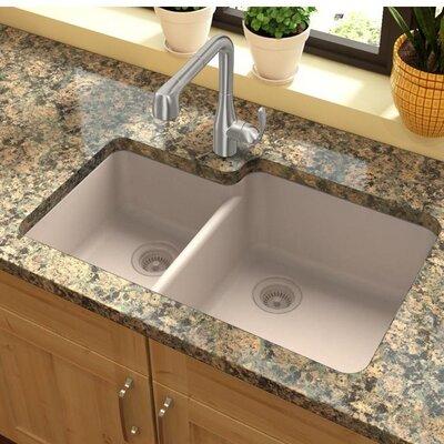 Quartz Classic 33 x 20.7 Double Basin Undermount Kitchen Sink Finish: Putty