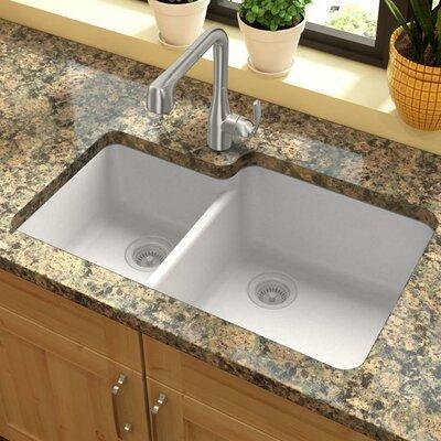 Quartz Classic 33 x 20.7 Double Basin Undermount Kitchen Sink Finish: White