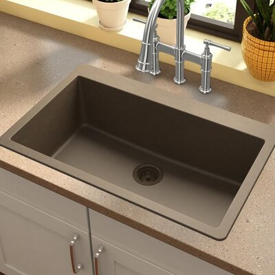 Quartz Classic 30.25 x 16.3 Top Mount Kitchen Sink Finish: Mocha