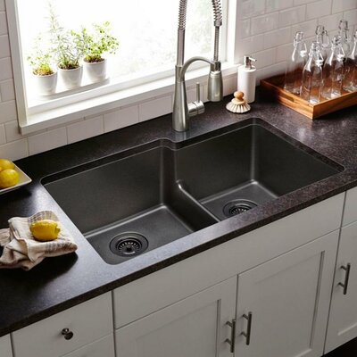 Quartz Classic 33 x 21 Double Basin Undermount Kitchen Sink with Aqua Divide Finish: Black