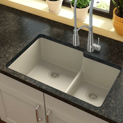Quartz Classic 33 x 21 Double Basin Undermount Kitchen Sink with Aqua Divide Finish: Bisque