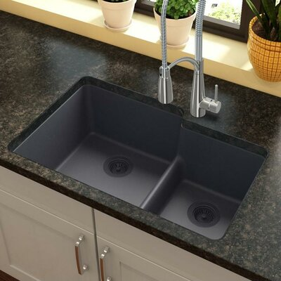 Quartz Classic 33 x 21 Double Basin Undermount Kitchen Sink with Aqua Divide Finish: Dusk Gray