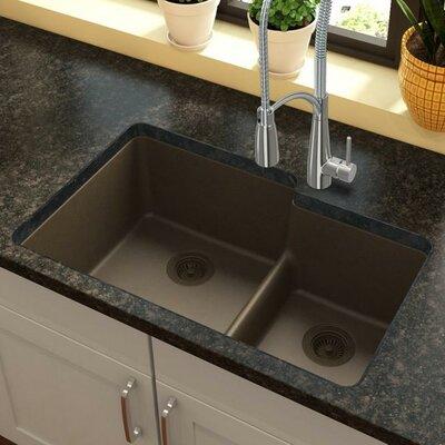 Quartz Classic 33 x 21 Double Basin Undermount Kitchen Sink with Aqua Divide Finish: Mocha