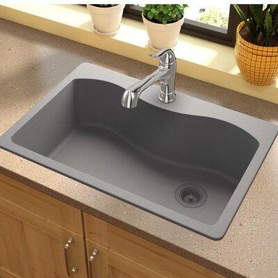 Quartz Classic 33 x 22 Drop-In Kitchen Sink Finish: Greystone