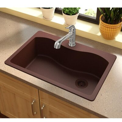 Quartz Classic 33 x 22 Drop-In Kitchen Sink Finish: Pecan