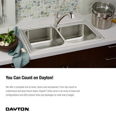 Dayton 32 x 32 Double Basin Drop-In Kitchen Sink Faucet Drillings: 3 Holes