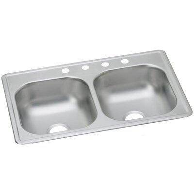 Dayton 33 x 19 Double Basin Drop-In Kitchen Sink Faucet Drillings: 4 Holes
