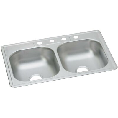Dayton 3 x 22 Double Basin Drop-In Kitchen Sink Faucet Drillings: 4 Holes