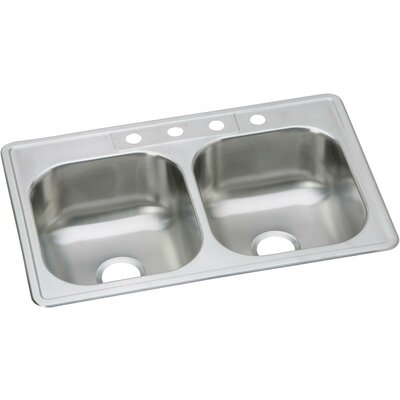 Dayton 33 x 22 Double Basin Drop-In Kitchen Sink Faucet Drillings: 4 Holes