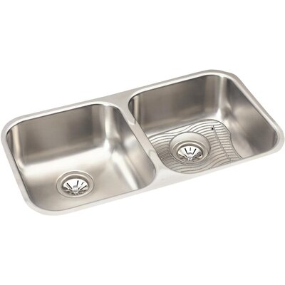 31.75 x 18.25 Double Basin Undermount Kitchen Sink with Grid and Drain Assembly