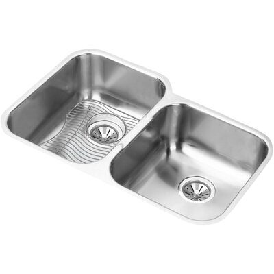 31.25 x 20.5 Double Basin Undermount Kitchen Sink with Grid and Drain Assembly