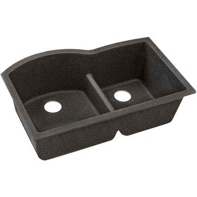 Quartz Classic 33 x 22 Double Basin Undermount Kitchen Sink with Aqua Divide Finish: Black Shale