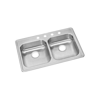 Dayton 33 x 21 Double Basin Top Mount Kitchen Sink Faucet Drillings: 4 Hole
