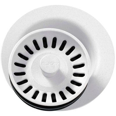 Polymer Disposer Flange with Removable Basket Strainer and Rubber Stopper Finish: White
