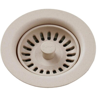 Polymer Drain Fitting with Removable Basket Strainer and Rubber Stopper Finish: Putty