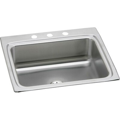 Lustertone 25 x 22 Drop-In Kitchen Sink with Drain Assembly Faucet Drillings: 3 Hole