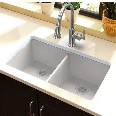 Quartz Classic 33 x 19 Double Basin Undermount Kitchen Sink Finish: White