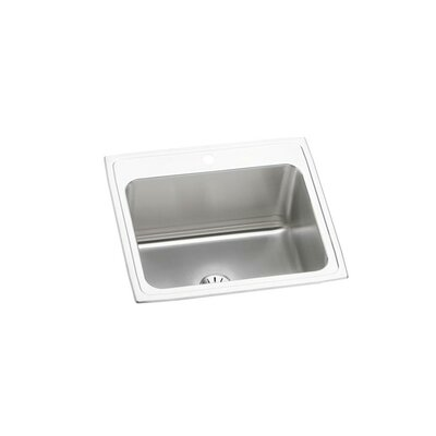 Lustertone 25 x 22 Drop-In Kitchen Sink with Drain Assembly Faucet Drillings: 1 Hole