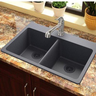 Quartz Classic 33 x 22 Double Basin Top Mount Kitchen Sink Finish: Dusk Gray