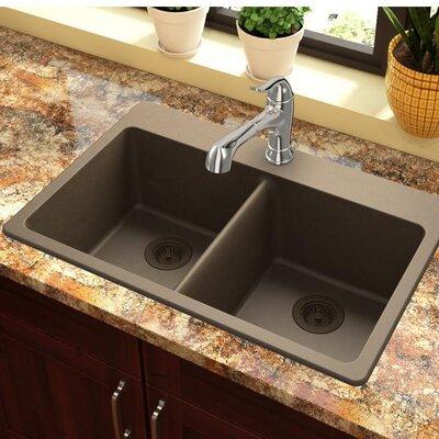 Quartz Classic 33 x 22 Double Basin Top Mount Kitchen Sink Finish: Mocha