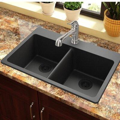Quartz Classic 33 x 22 Double Basin Top Mount Kitchen Sink Finish: Black